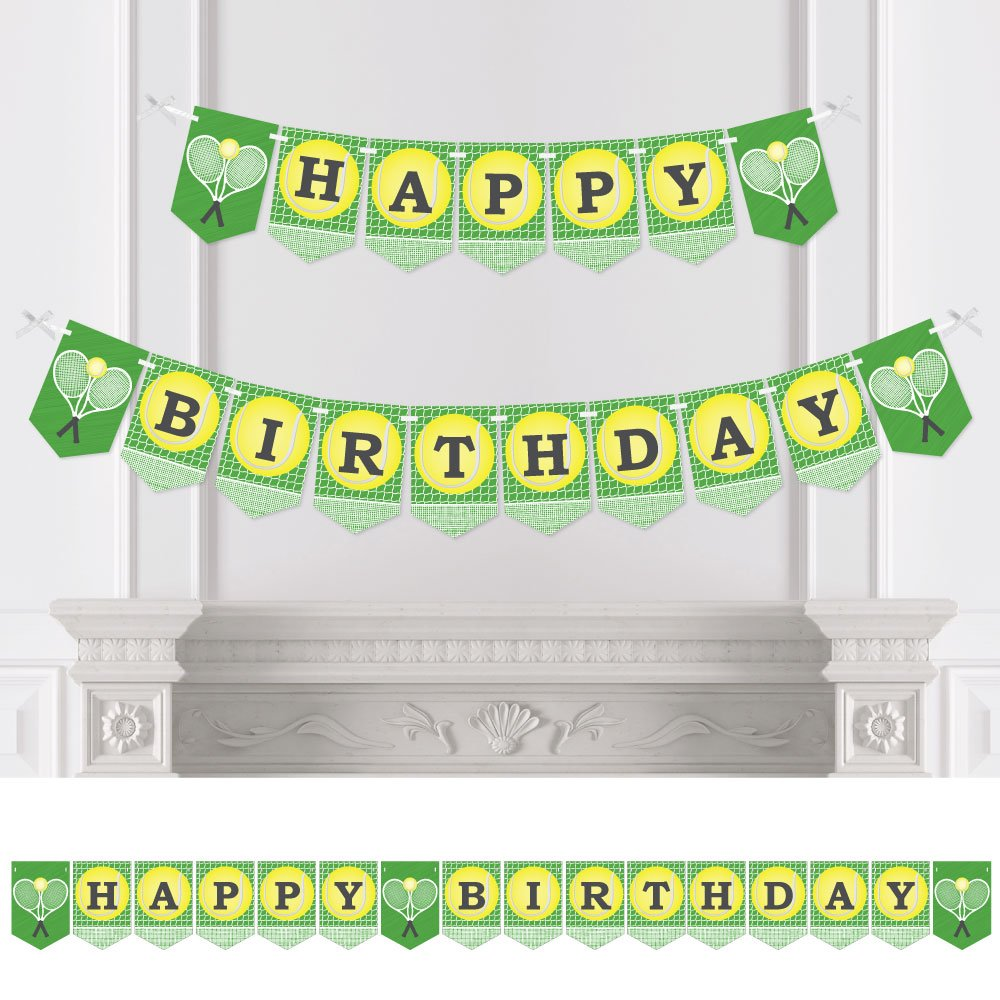 Big Dot of Happiness You Got Served - Tennis - Birthday Party Bunting Banner - Tennis Ball Birthday Party Decorations - Happy Birthday by Big Dot of Happiness