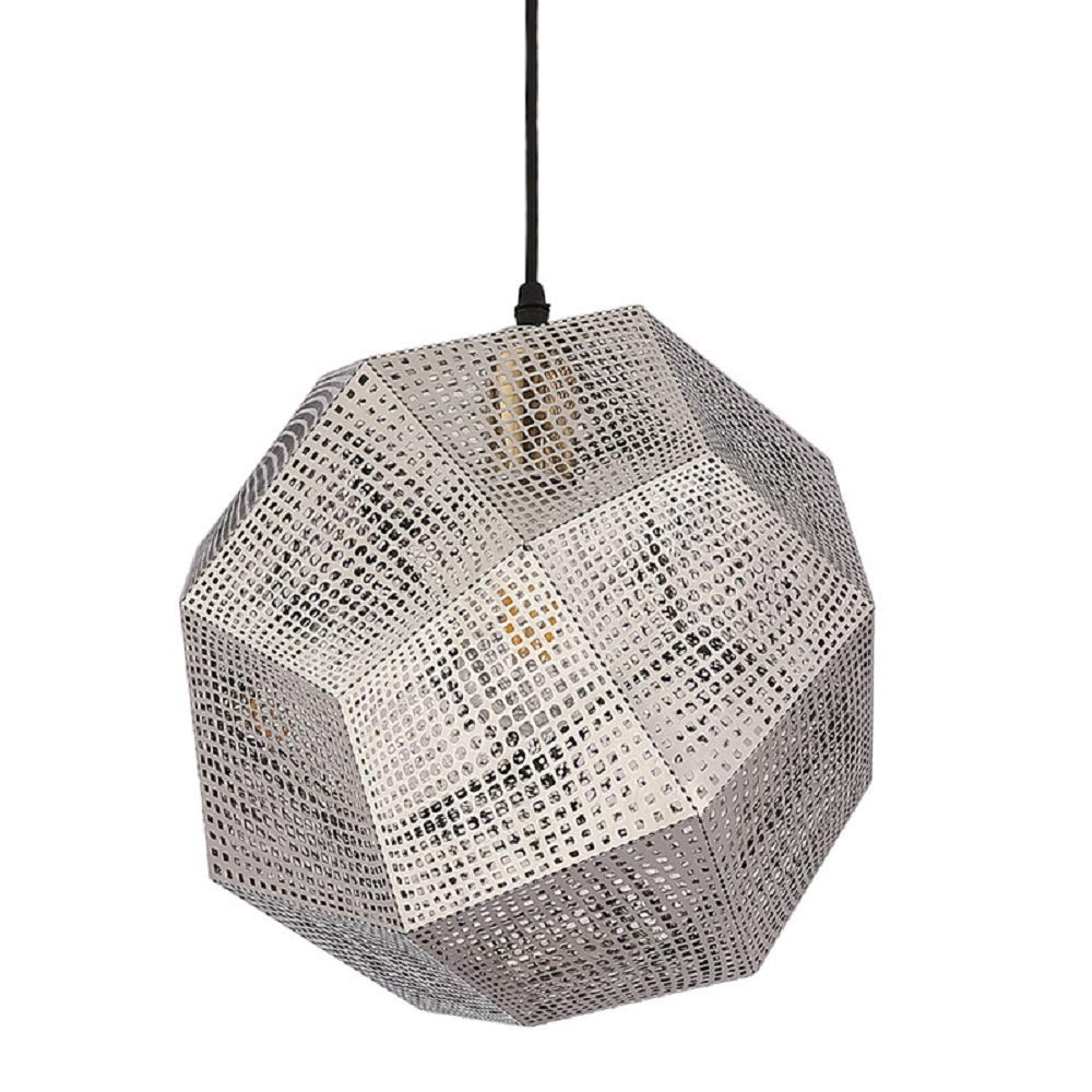 Nordic Meal Chandelier Personality Hollow Multi-Faceted Ball Ceiling Lamp Luxury Post-Modern Creative Stainless Steel Geometric Restaurant Chandelier (Color : Silver)