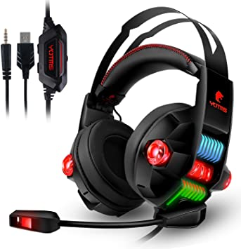 ATUTEN Auriculares Gaming para PS4 con Luz Iluminación RGB ...