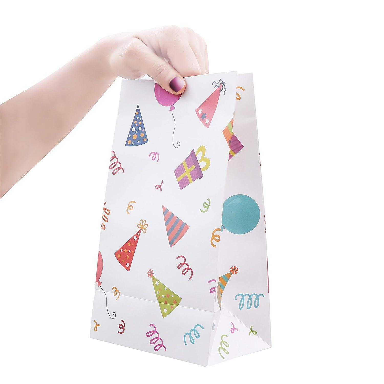 Sacchettini di Carta Kraft Buste Regalo per Feste di Compleanno Sacchetti Carta Regalo Kraft Baby Shower e Matrimoni Set da 36 Sacchetti Regalo Carta per Bambini