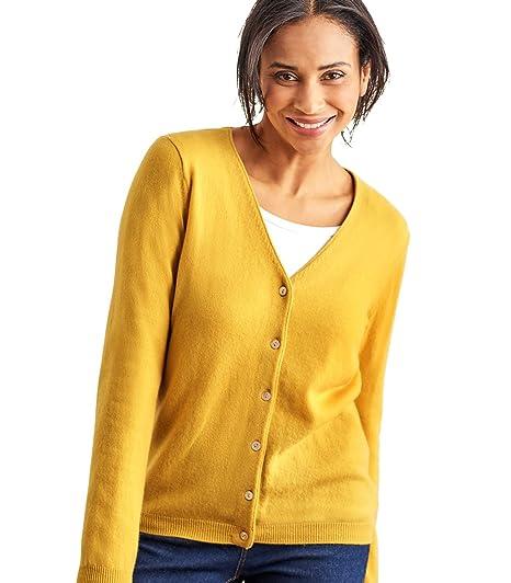 060cba5e3b Wool Overs Edle Strickjacke mit V-Ausschnitt aus Merinowolle-Kaschmirwolle  für Damen Saffron,