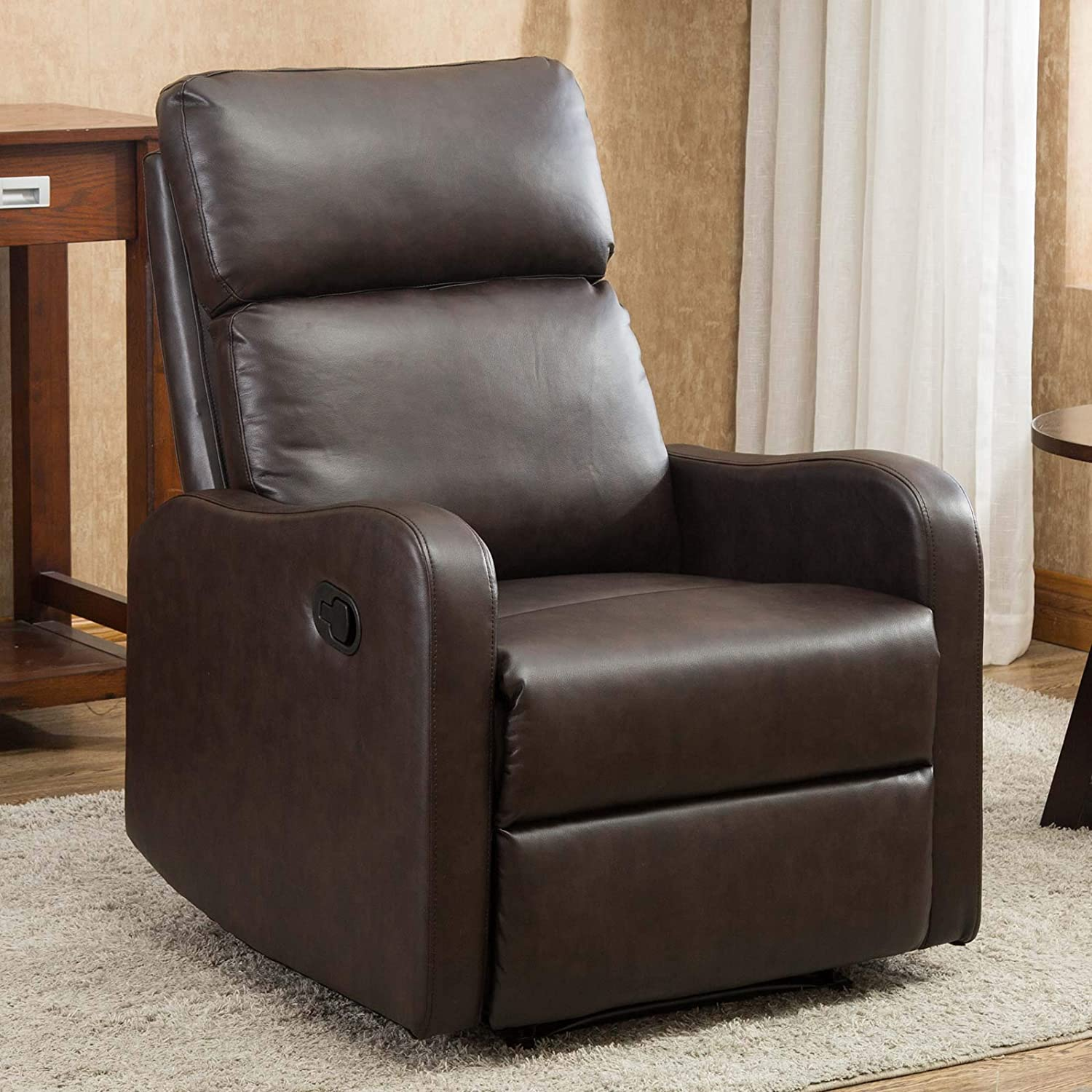 CANMOV Recliner Chair, Manual Leather Single Seat Home Theater Seating Chair with Overstuffed Back, Brown01