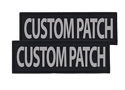 Dogline Custom Reflective Patch for Vest, Harness Or Collar | Customizable  Text | Personalized Patches with Hook Backing | Name, Service Dog, in