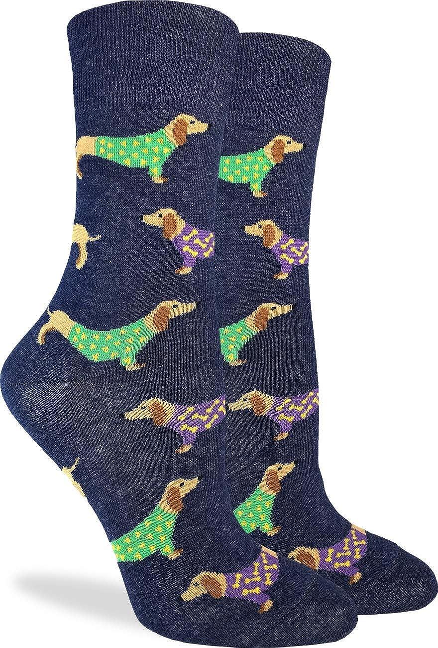 Good Luck Sock Women's Blue Wiener Dog Socks - Blue, Adult Shoe Size 5-9
