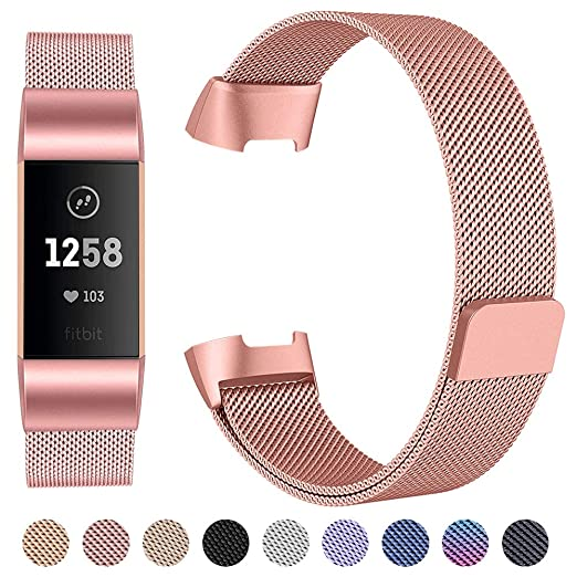 EZCO Compatible Fitbit Charge 3 Bands, Stainless Steel Milanese Loop Watch  Strap Unique Magnet Replacement Wristband Accessories Woven Man Small &