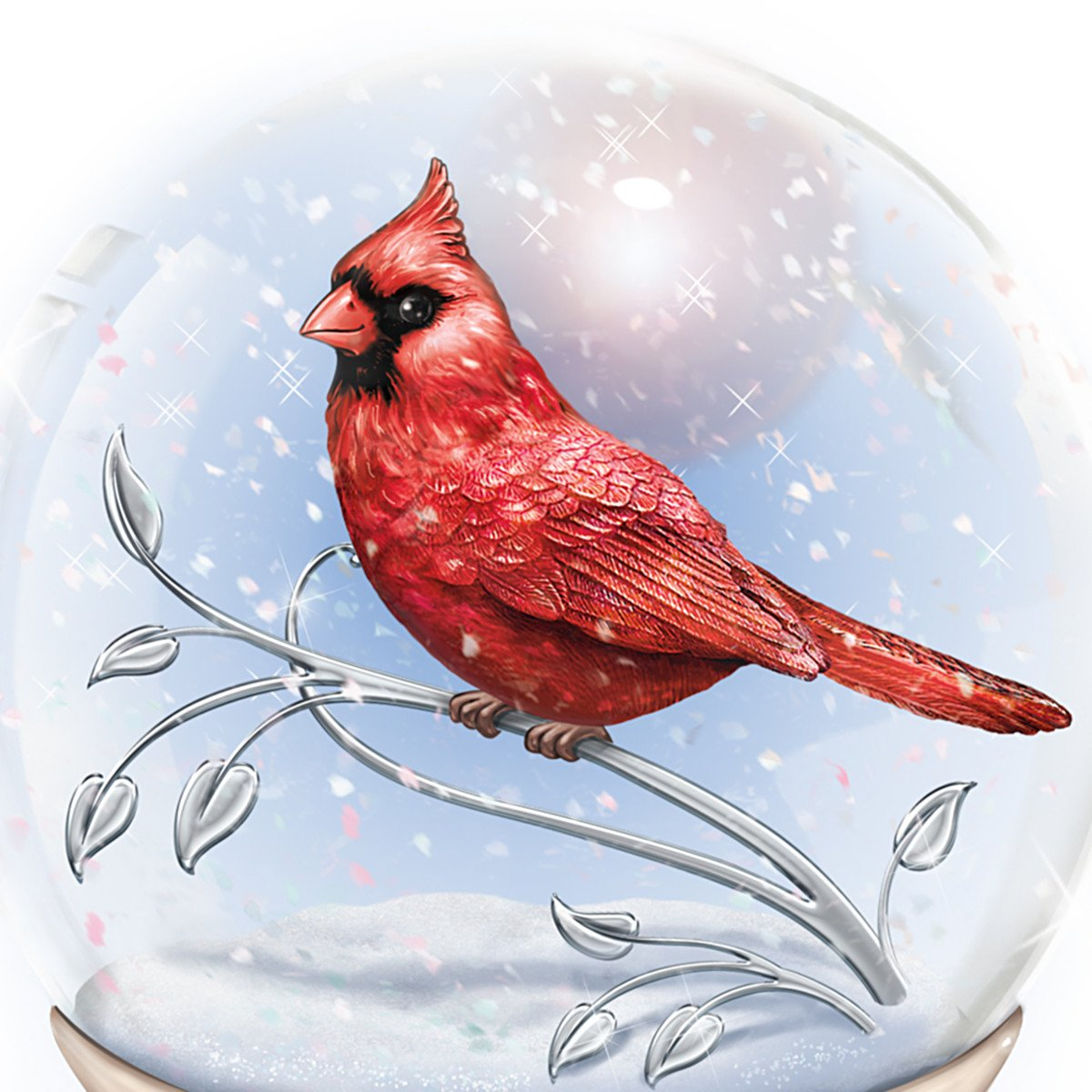 Messenger From Heaven Memorial Cardinal Glitter Globe by The Bradford Exchange by Bradford Exchange (Image #2)