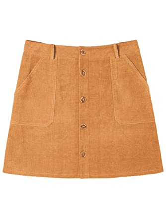 fd9cbbfa39 Amordaily A-Line Skirt Corduroy Mini Skirt with Pockets Button Front Camel  Size S