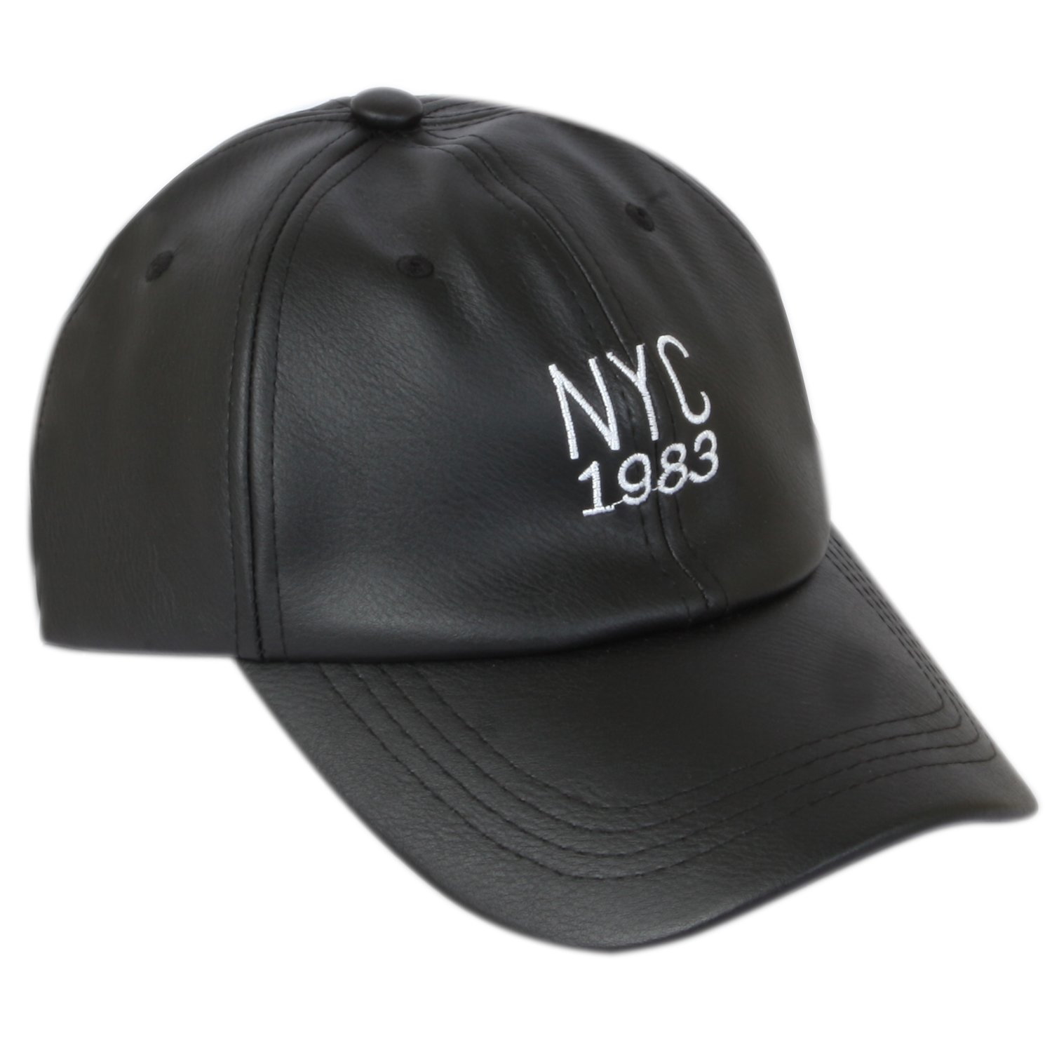85a3b11ad03 ILU NY Men s Faux Leather Baseball Cap Black Freesize  Amazon.in  Clothing    Accessories
