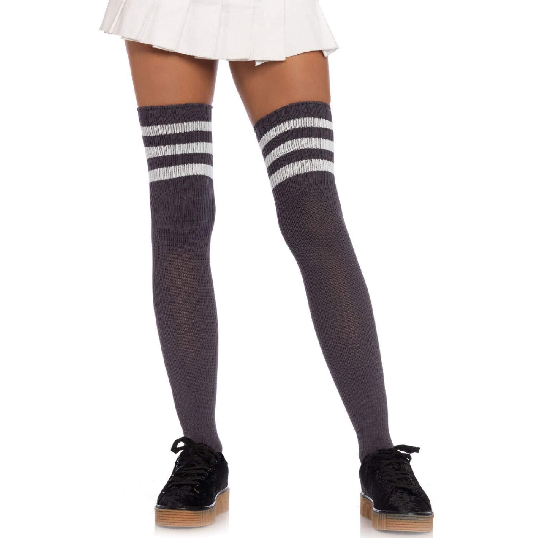 LEG AVENUE 6905 - Transparente Halterlose Strümpfe mit kontrastierenden Rücknaht und Cuban Heel, Einheitsgröße, Marine/ Weiß Leg Avenue Inc. 6605 06822