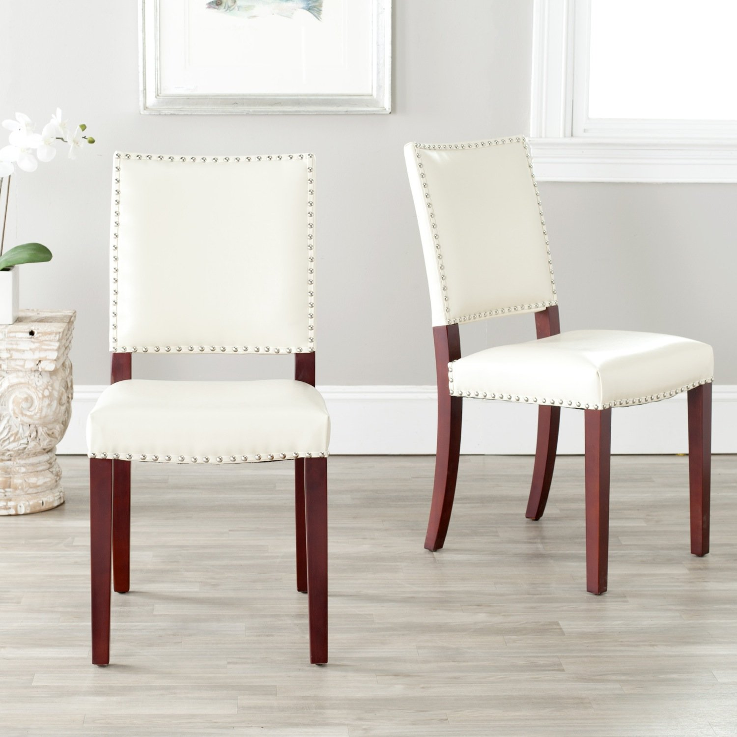 Ordinaire Amazon.com: Safavieh Mercer Collection Colette Leather Side Chairs, Cream,  Set Of 2: Kitchen U0026 Dining