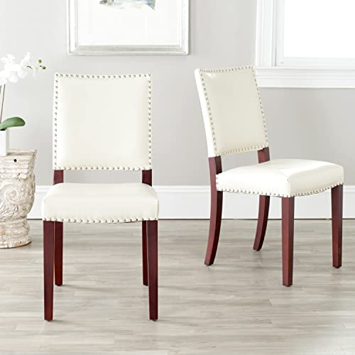 Safavieh Mercer Collection Colette Leather Side Chairs, Cream, Set of 2