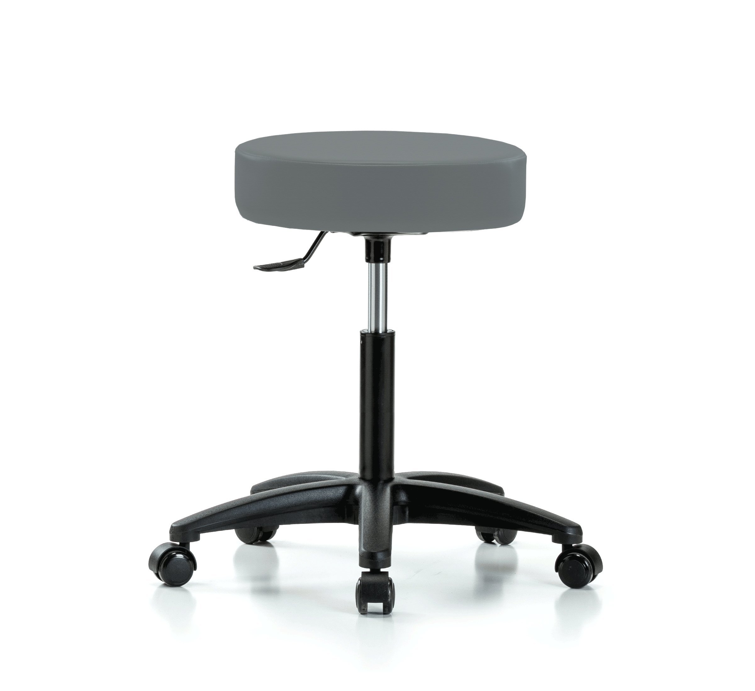Perch Rolling Single Lever Height Adjustable Swivel Stool for Salon, Spa, Massage, Office, Home or Workshop 20'' - 25.8'' (Soft Floor Casters/Cinder Fabric)