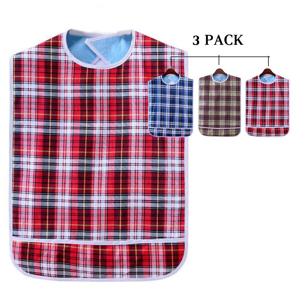 Adult Bibs Eating Dining Clothing Protectors, Mealtime Protector with Crumb Catcher, Patient Care Bibs, Double Layer Thickening Waterproof Pocket Trap Bib, Red Blue Khaki Lattice 3 Pack IFANLEE