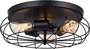 LOKHOM Industrial Semi Flush Mount Ceiling Light, Oil Rubbed Finish, 3-Light Rustic Metal Cage Kitchen Ceiling Light Fixture for Farmhouse Living Room Dining Room Bedroom Hallway, E26, Black