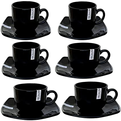 219a85c50c Buy Saanveria Hi-Luxe Ceramic Tea Cup with Saucer (Glossy Black) Set of 6  Online at Low Prices in India - Amazon.in