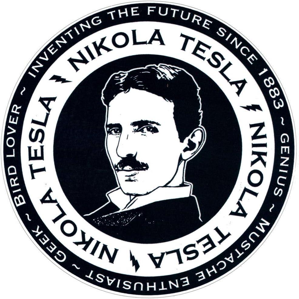 "Black & White Nikola Tesla - Bumper Sticker/Decal (4.5"" X 4.5"")"
