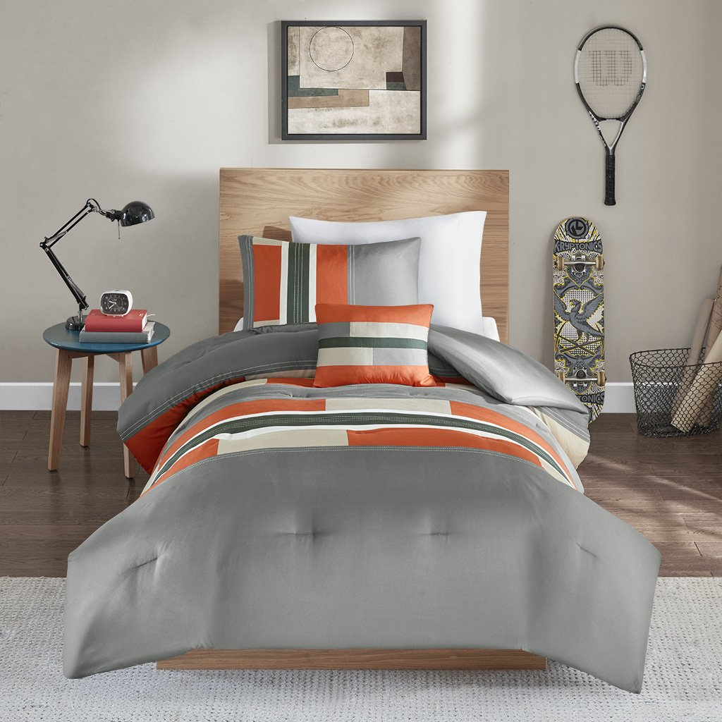 Pierre Comforter Set - 3 Piece - Gray / Orange - Multi-Color pipeline Panels