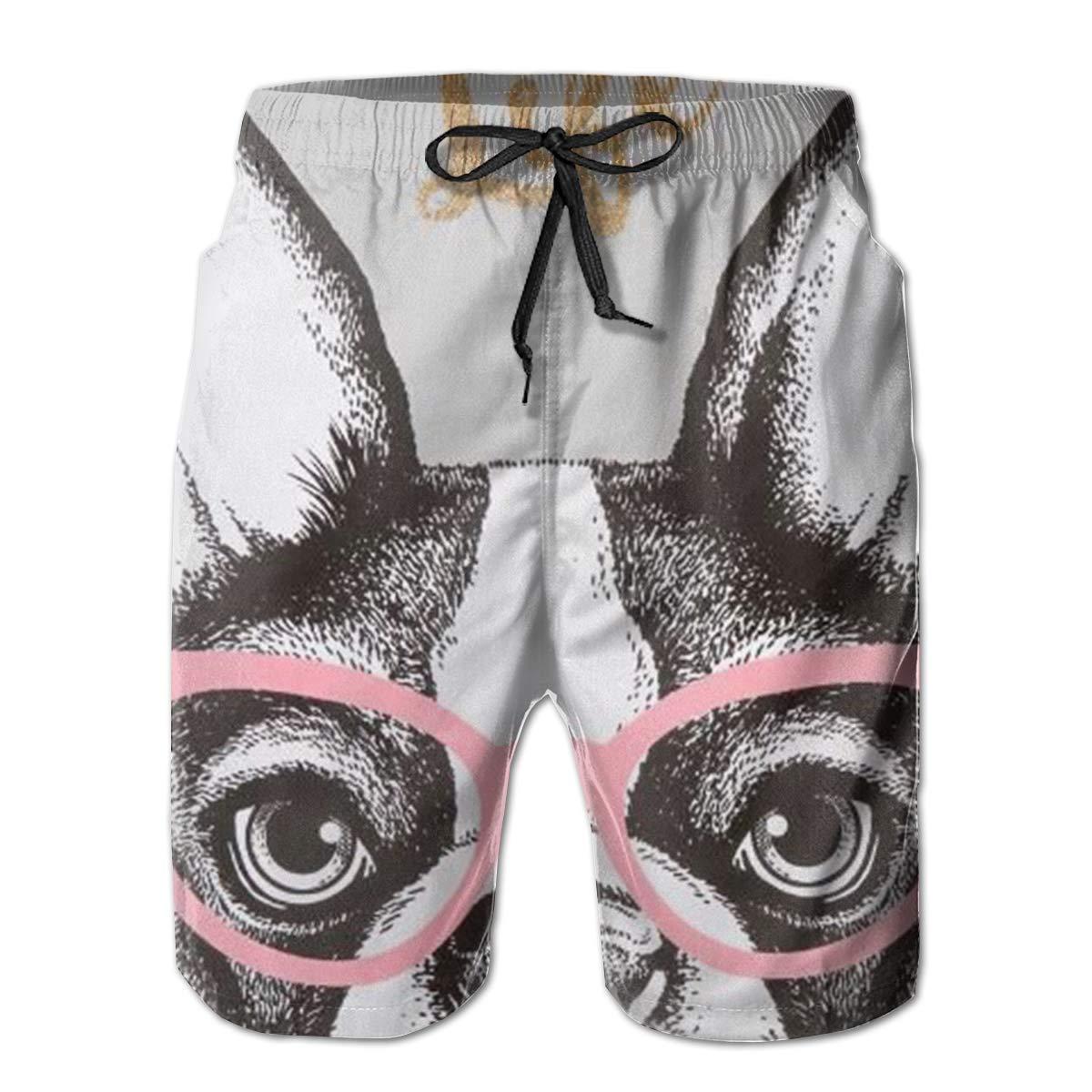 Tyugvvo French Bulldog with Glasses Funny Swim Trunks Quick Dry Beachwear Sports Running Swim Board Shorts Mesh Lining