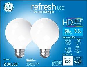 GE Lighting 31709 Frosted Finish Light Bulb Refresh HD Dimmable LED G25 Decorative Globe 5.5 (60-Watt Replacement), 500-Lumen Medium Base, 2-Pack, Daylight, 2