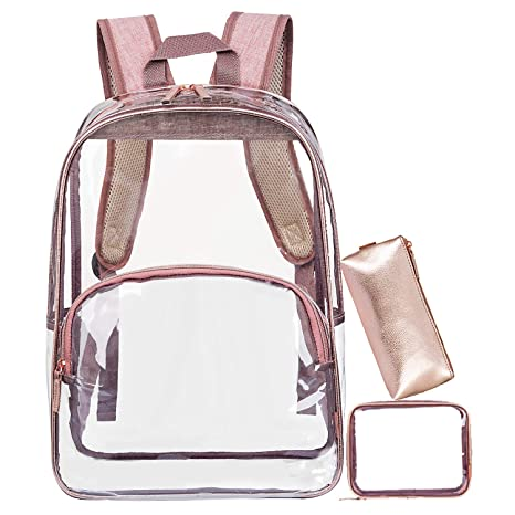 073e260694e0 NiceEbag 3 in 1 Clear Backpack with Pencil Case for School Heavy Duty Clear  Bookbag See