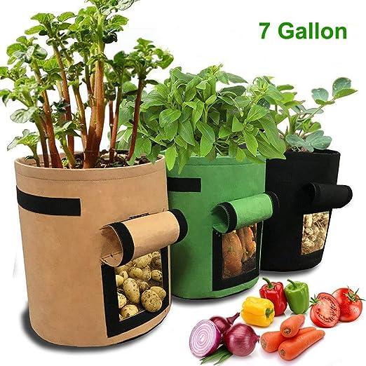 JanTeelGO Bolsas de Cultivo de Patata, 3 Paquete 7 Gallon Bolsa de ...