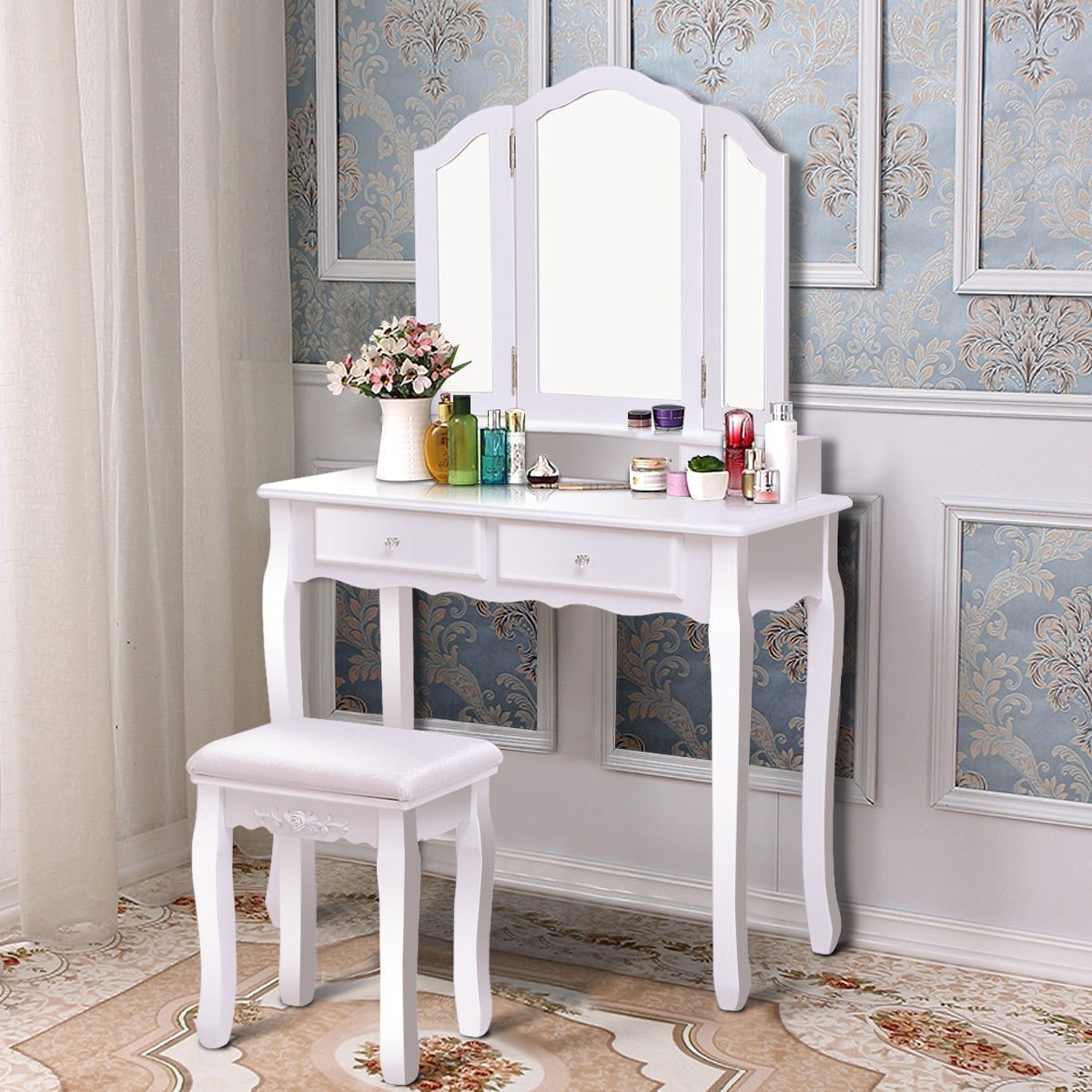 Giantex Tri Folding Mirror Bathroom Vanity Makeup Table Stool Set Home Furni With 4 Drawers (White