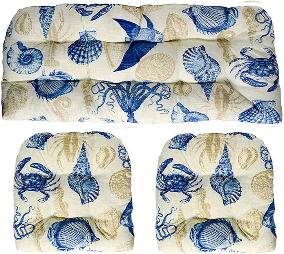 3 Piece Wicker Cushion Set – Indoor Outdoor Blue, Tan, Ivory Nautical Ocean Life – Fish, Crab, Seashell Pattern Fabric Cushion for Wicker Loveseat Settee 2 Matching Chair Cushions