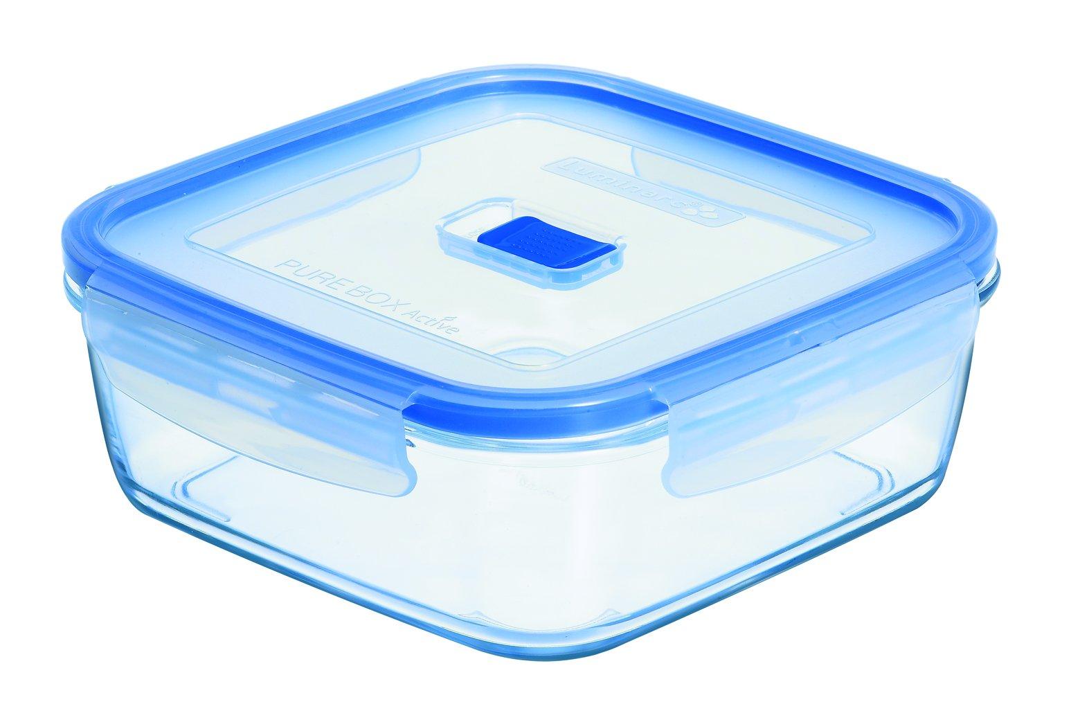 Luminarc Pure Box Active - Recipiente hermético de vidrio, cuadrado, tamaño 0.76 litros product