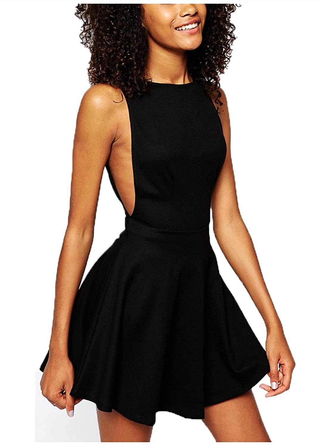 Wink Gal Women A line Backless Round Neck Sleeveless Cocktail Mini Casual Dress