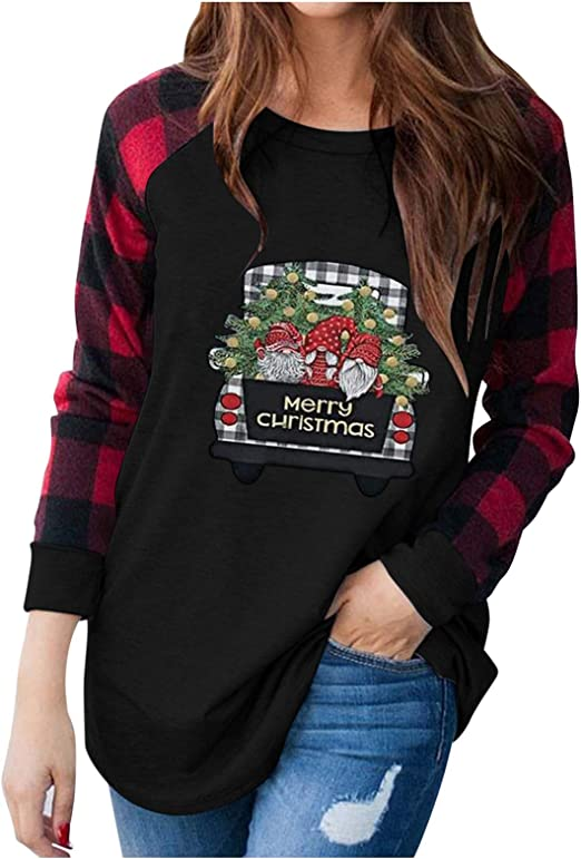 Believe Christmas Sweatshirts for Women Long Sleeve Funny Letter Print Lightweight Sweater Shirts Tops Plus Size.S-3XL