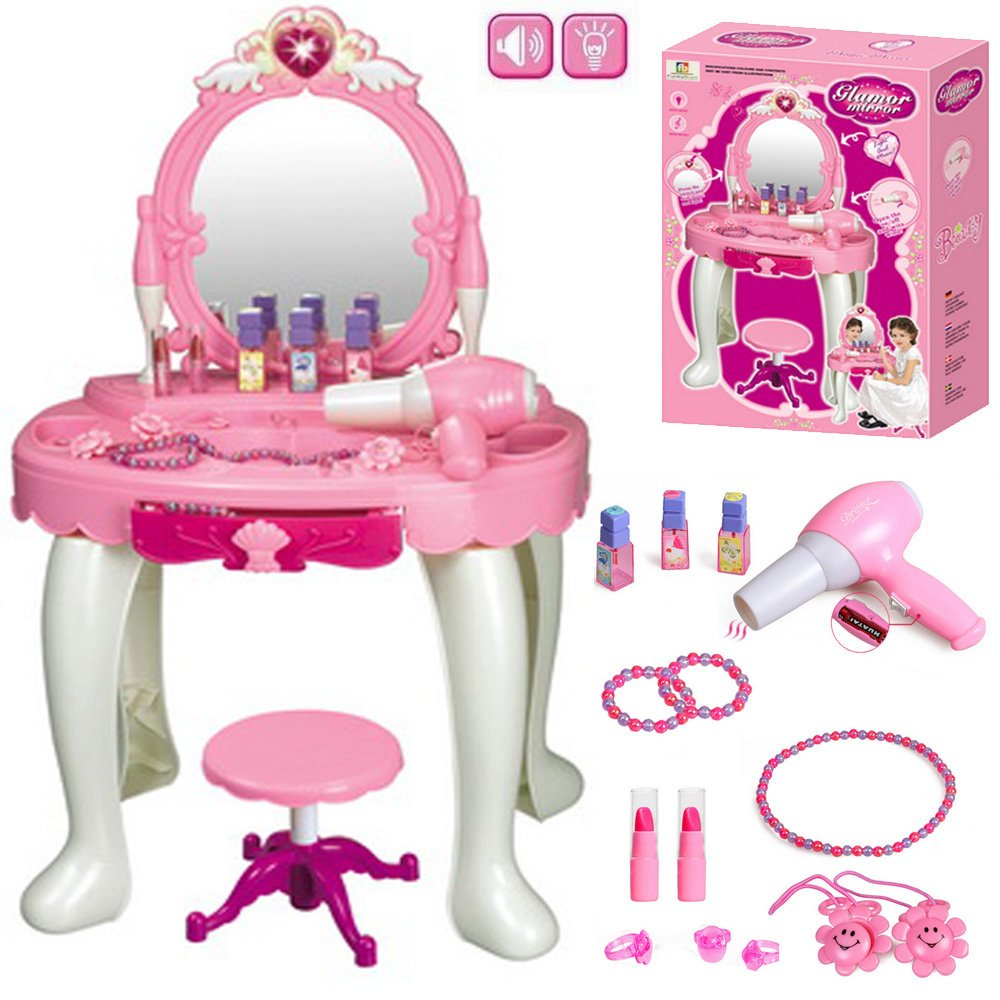 Kids Girl Glamour Mirror Dressing Table Play Set W/ Light U0026 Sounds Toy Game  Gift Set Medium