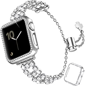 fastgo Bling Band Compatible with Apple Watch 38mm/40mm/42mm/44mm with Case Women, Jewelry Glitter Metal Rhinestone Bracelet Replacement Strap Cover for iWatch SE Series 6/5/4/3/2/1(Silver-38mm)