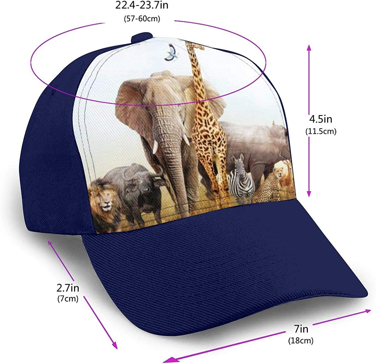 African Safari Animals Trucker Hat for Men and Women Cotton Mountaineering Cap