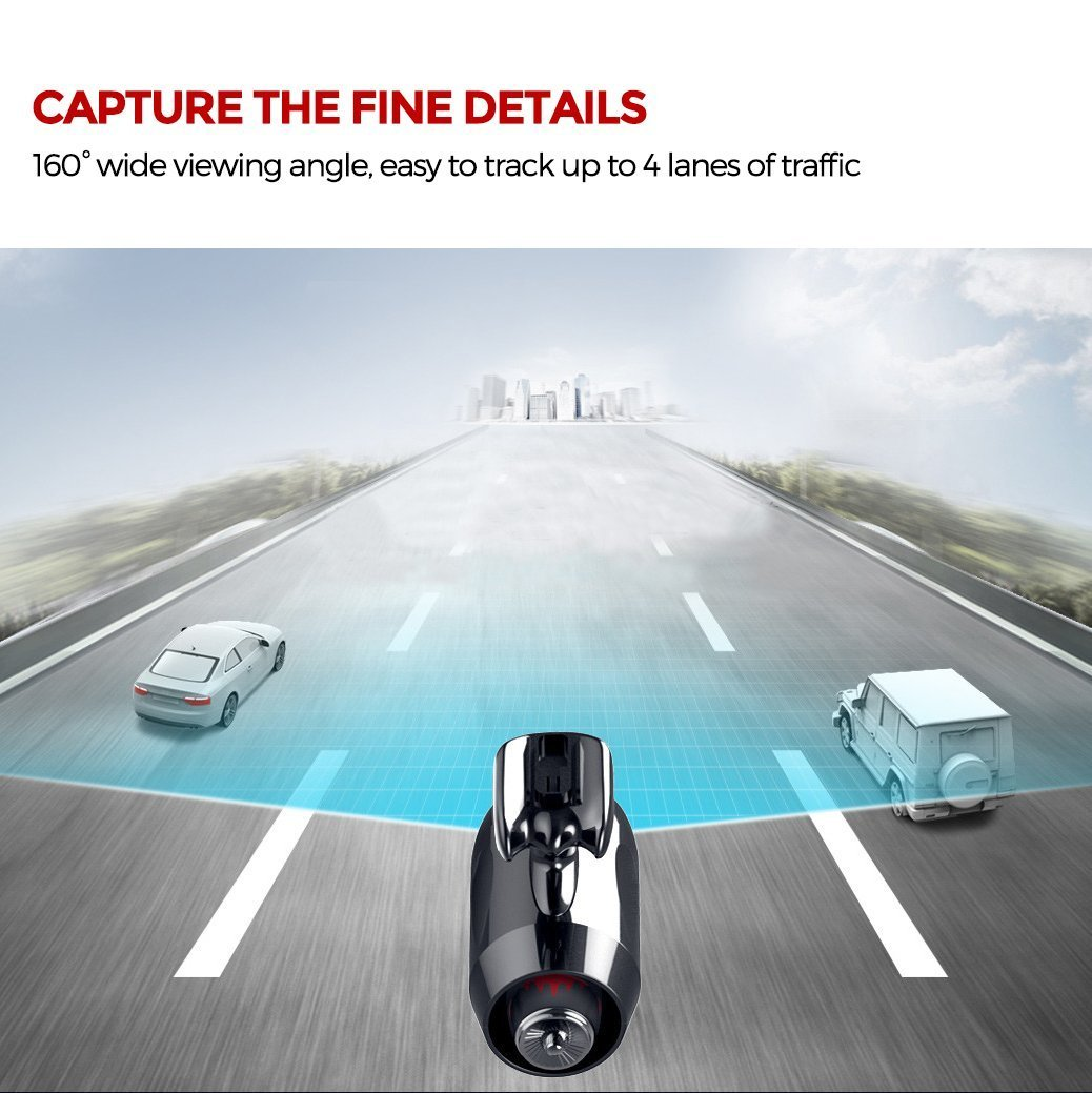 Supercapacitors Loop Recording G-Sensor Upgraded Version 6-Lane Wide-Angle View Lens GPS Built-in WiFi with APP Jomicam Car Camera : 1296P Super HD Dashboard Camera Night Mode Dash Cam 1S