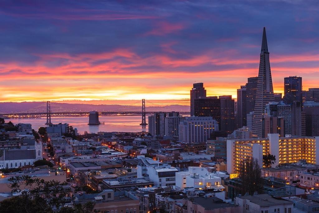 San Francisco California Bay Bridge Downtown Buildings at Dawn Sunrise Orange Purple Sky Landscape Photo Cool Wall Decor Art Print Poster 36x24