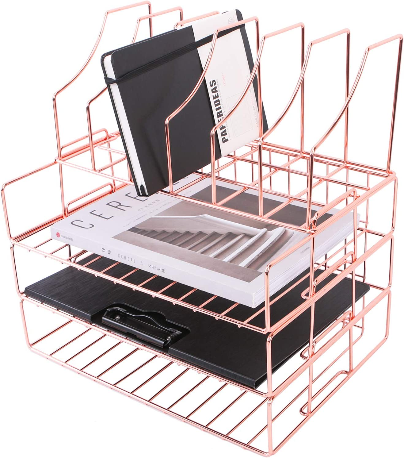 Nugorise Stackable File Tray, 3-Tier Paper Trays Plus Magazine Holder, Wire Office Desk Organizer Document Shelf for Mails, Folders, Books and More, Rose Gold