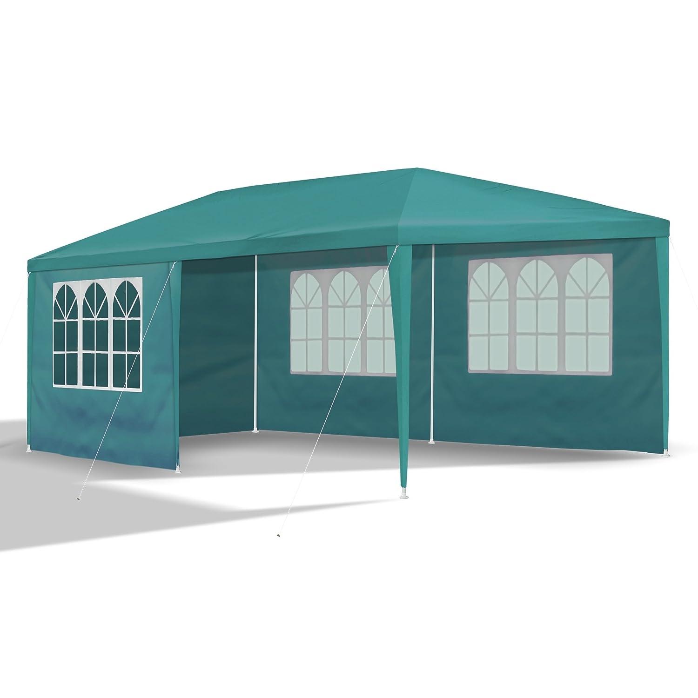 JOM 127145 Carpa de jardín, 3 x 6 m, con 6 Paredes Laterales, 4 con Ventana y 2 Cerradas, Conectores de plástico, con piquetas y Cables, Verde: Amazon.es: ...