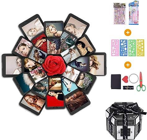 Erlliyeu - Caja sorpresa creativa, caja de explosiones, regalo para hacer manualidades, scrapbook plegable, álbum de fotos, para Navidad, cumpleaños, aniversario, día de San Valentín: Amazon.es: Oficina y papelería