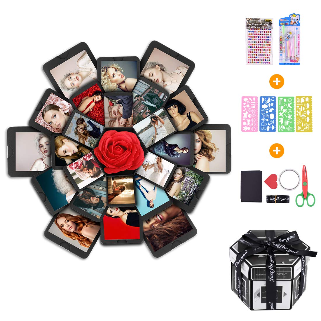 Creative Explosion Box -Explosion Box DIY Photo Album Scrapbook 6 Faces Explosion Gift Box for Wedding Proposal Engagement Birthday Anniversary Gifts, Black by aierliusa