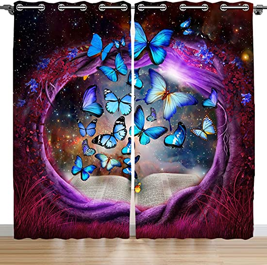 SXCHEN Blackout Curtains 2 Panels Grommet Bedroom Curtain Purple Tree Hole Blue Butterfly W54 x L84 Inch