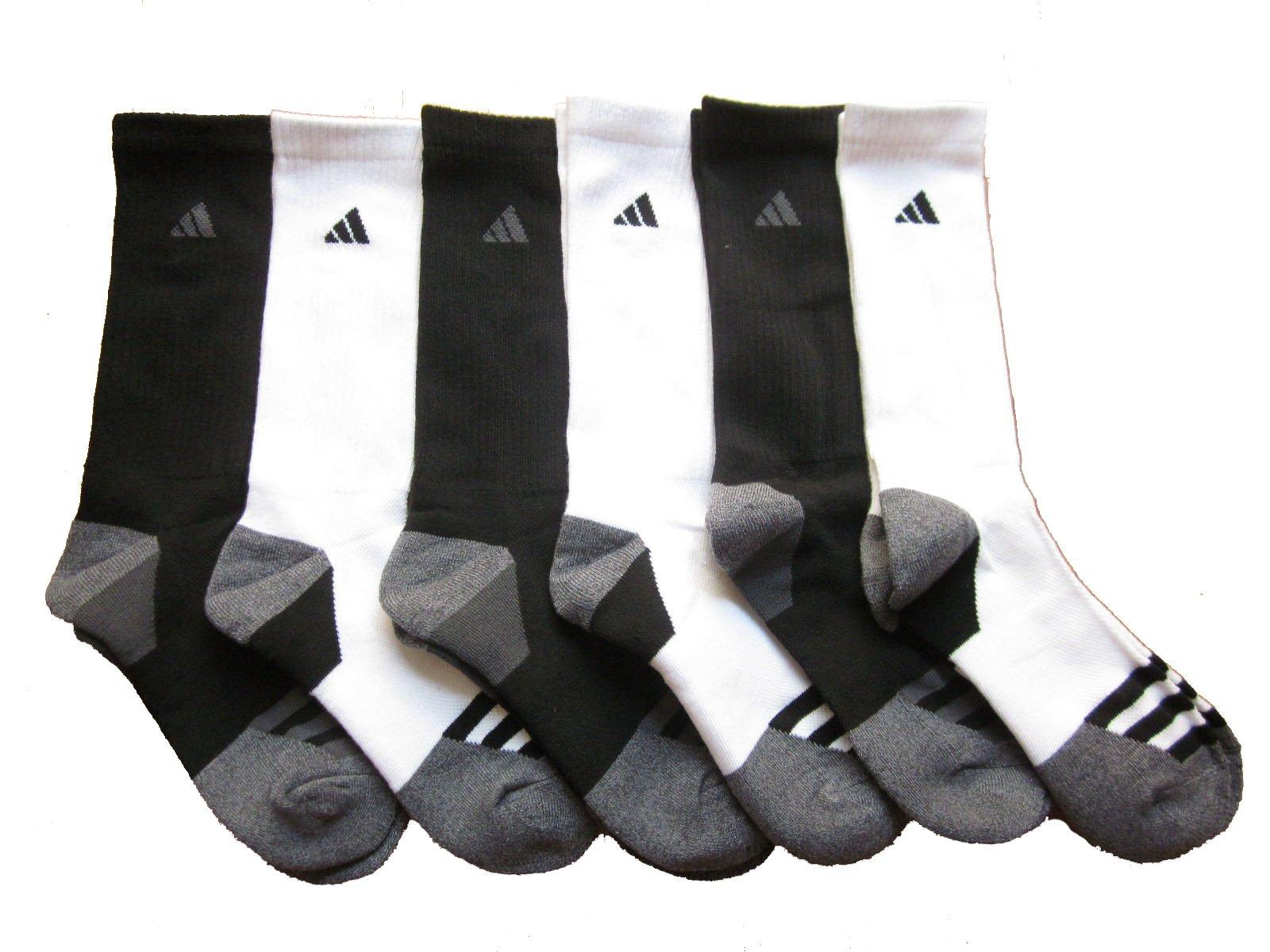adidas Men's Athletic Crew Socks (6-Pack) (White/Black (Grey/Black Trim))
