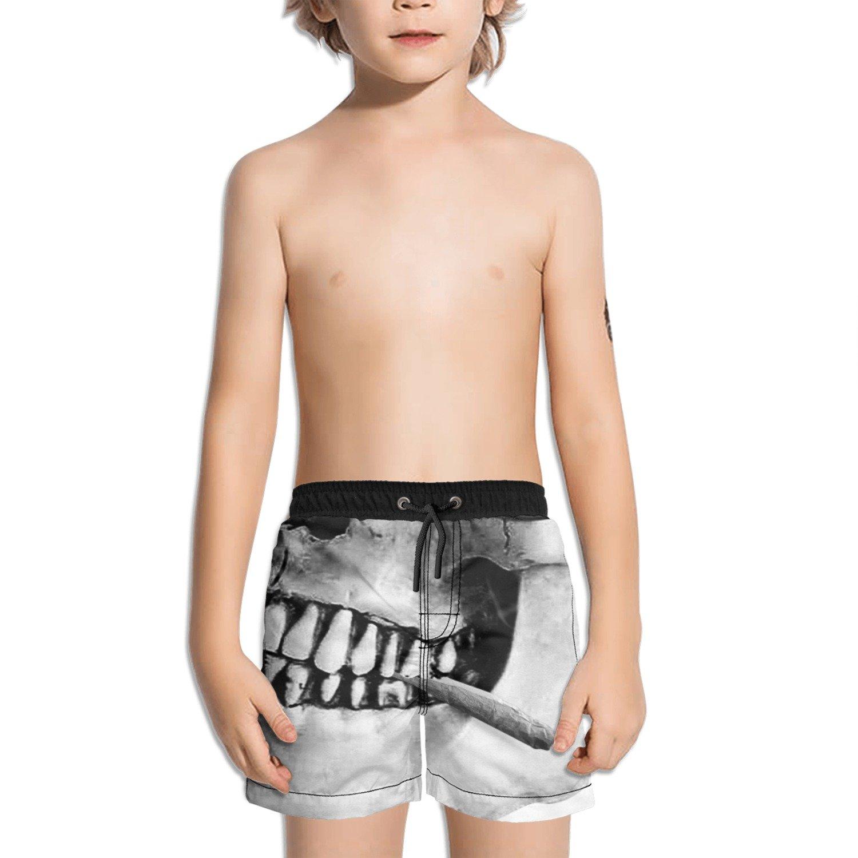 Trum Namii Boy's Quick Dry Swim Trunks Hip-hop Skull Weed with Sunglass Shorts