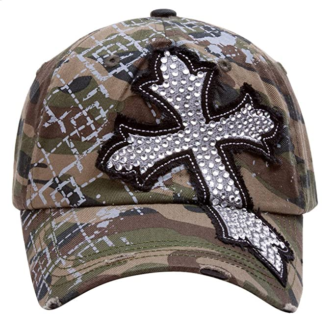 a732994b68a30 Image Unavailable. Image not available for. Color  TopHeadwear Beaded Cross  Distressed Adjustable Baseball Cap - Camo