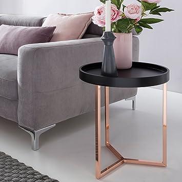 WOHNLING Design Side Table Black / Copper ø 40 Cm Tablett Wood Metal |  Living Room