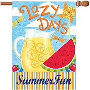 Hello Summer Watermelon Garden Flag 28x40 inch Double Sided Decorative Lazy Days Tropical Lemon House Yard Flags for Spring Summer Garden Yard Outdoor Indoor Lawn Farmhouse Outside Decoration