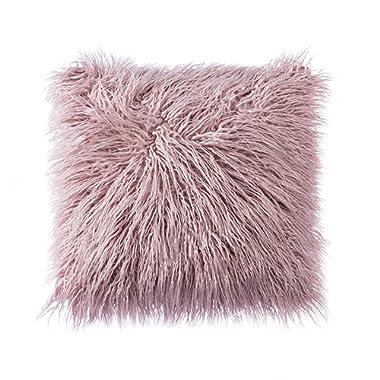Ojia Deluxe Home Decorative Super Soft Plush Mongolian Faux Fur Throw Pillow Cover Cushion Case (20 x 20 Inch, Purple)