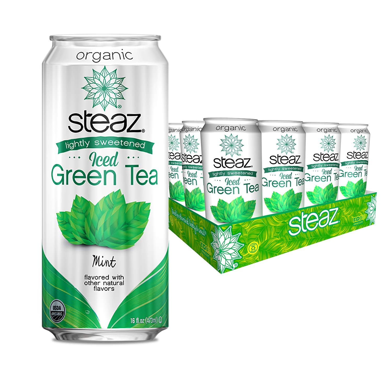 Steaz Organic Lightly Sweetened Iced Green Tea, 16 OZ (Pack of 12) (Mint)