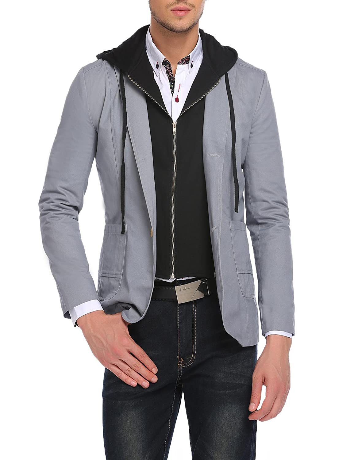 Coofandy Men's Casual Regular Fit Sports Jacket Suit Blazer With Removable Hood