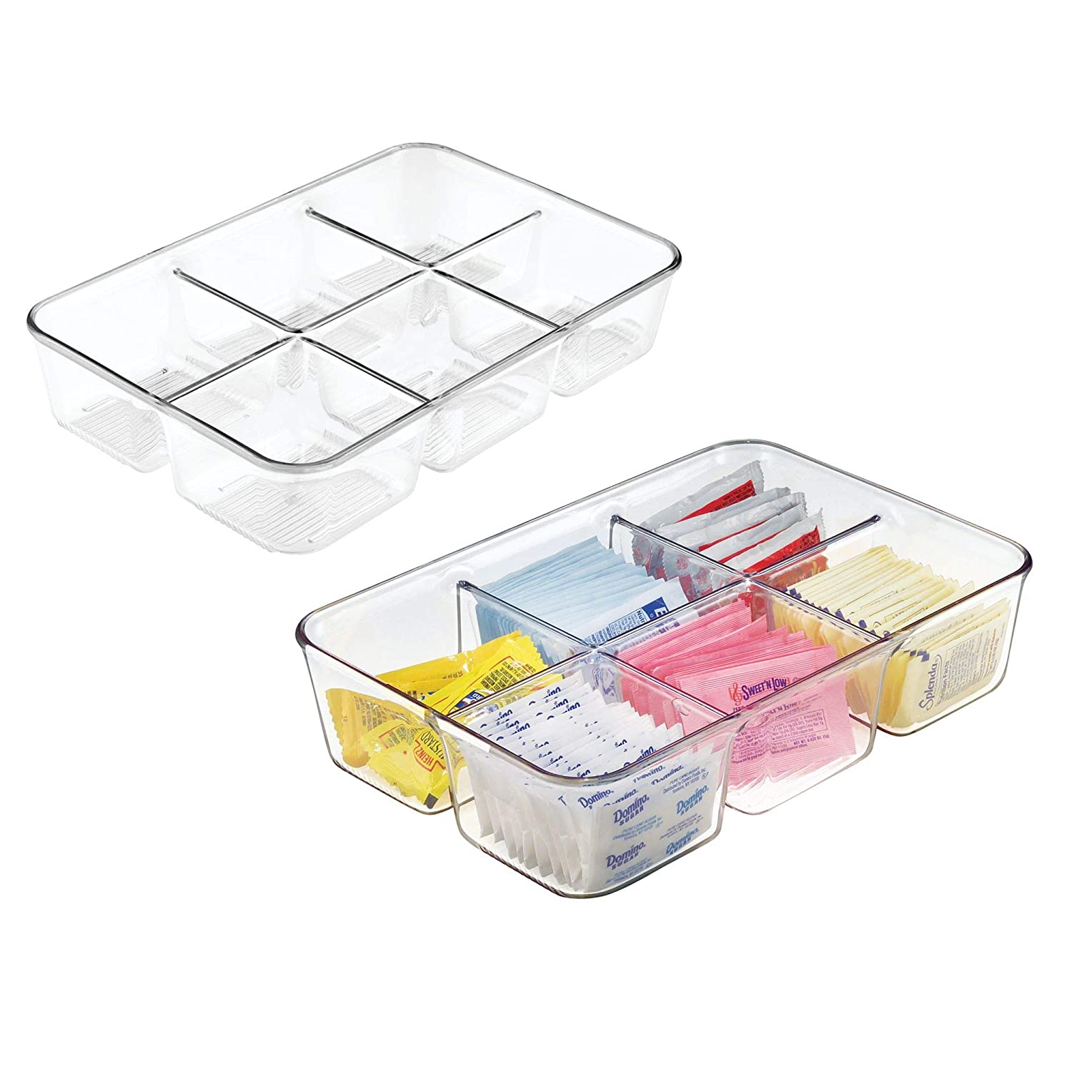 mDesign Set of 2 Kitchen Storage for Spices with 6 Compartments - Dynamic Kitchen Accessories - Spice Holder Perfect for Tea, Coffee, Sugar Sachets, and More - Clear MetroDecor