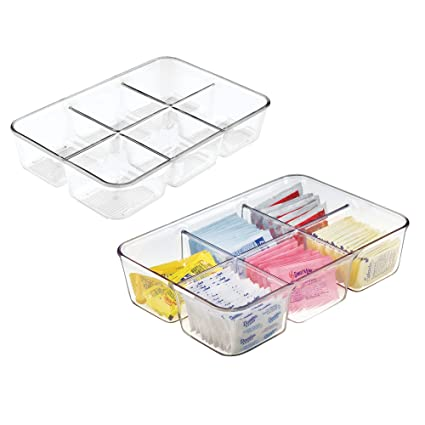 mDesign Juego de 2 cajas para infusiones para cocina – Organizadores de cajones de fácil manejo